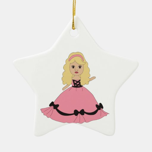 Pink & Black Gown Princess 4 Double-Sided Star Ceramic Christmas Ornament