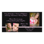 Pink & Black Graduation Annoucment & Invitation Photo Greeting Card