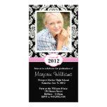 Pink Black Graduation Invitation Class of 2012 Photo Card