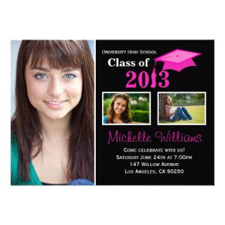 Pink Black Graduation Invitation Class of 2013