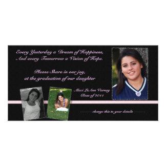 Pink & Black Graduation Invite for Maci Photo Card