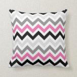 Pink Black Gray Chevron Zigzag Pattern Throw Pillow