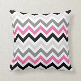 Pink Black Gray Chevron Zigzag Pattern Throw Pillow