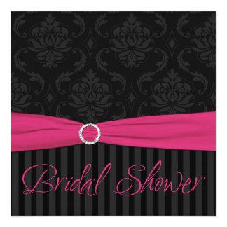 Pink Black Gray Damask Stripe Bridal Shower Invite