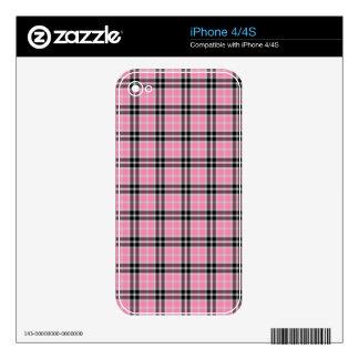Pink Black Gray Tartan Plaid Skin For iPhone 4
