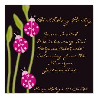 Pink Black & Green ladybug Birthday Invitation