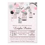 Pink Black Grey Bird Cages & Jars Girl Baby Shower 5x7 Paper Invitation Card