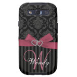 Pink, Black, Grey Damask Stripes Initial Case Samsung Galaxy S3 Case