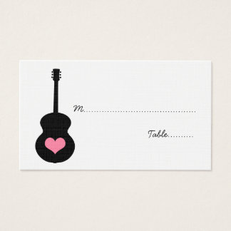 Pink/Black Guitar Heart Place Card