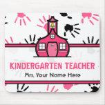 Pink & Black Handprints Kindergarten Teacher Mousepad