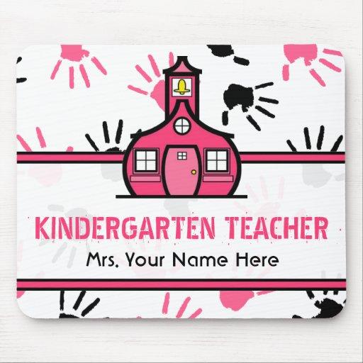 Pink & Black Handprints Kindergarten Teacher Mouse Pad