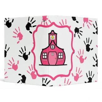 Pink & Black Handprints Large Schoolhouse Binder binder