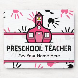 Pink & Black Handprints Preschool Teacher Mousepad