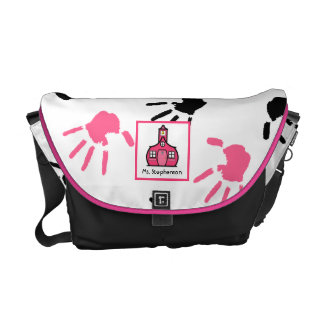 Pink & Black Handprints Teacher Messenger Bag