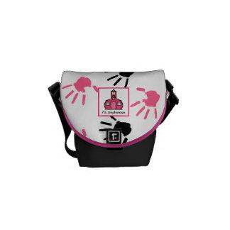 Pink & Black Handprints Teacher Mini Messenger Bag