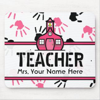 Pink & Black Handprints Teacher Mousepad