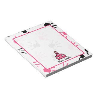 Pink & Black Handprints Teacher Notepad