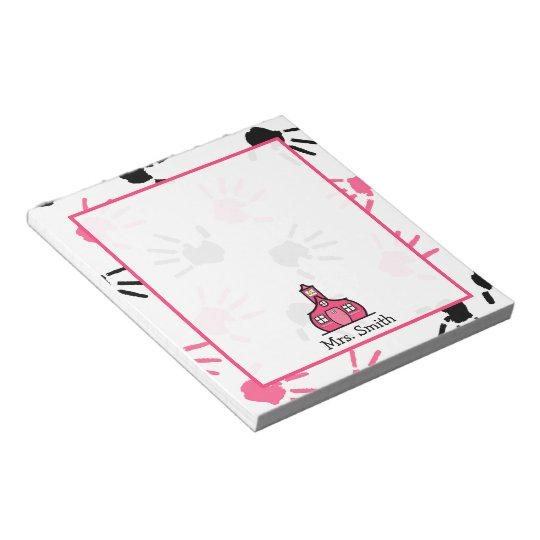 Pink & Black Handprints Teacher Notepad