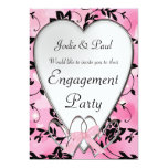 "Pink & Black Heart Wedding - Engagement Invitation 5"" X 7"" Invitation Card"