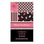 Pink Black Hearts Checks Stripes Plaid Pattern Double-Sided Standard Business Cards (Pack Of 100)