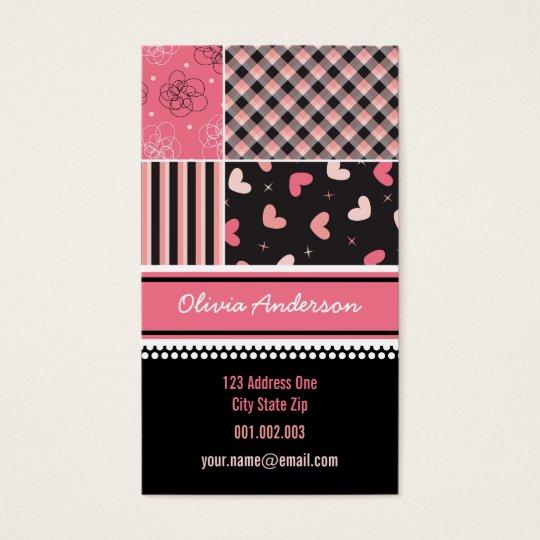 Pink Black Hearts Checks Stripes Plaid Pattern Business