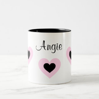 PInk & Black Hearts Customized Valentine Name Mug