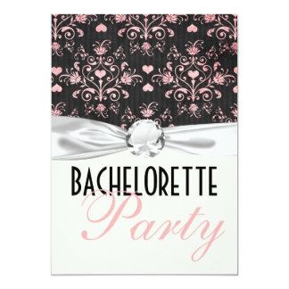 pink black hearts damask bachelorette party card