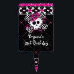 """Pink Black Hearts Skull Crossbones Cake Topper<br><div class=""""desc"""">Pink Black Hearts Skull Crossbones Cake Topper. Customize with any text for any event. Matching items in my store.</div>"""