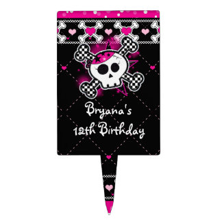 Pink Black Hearts Skull Crossbones Cake Topper