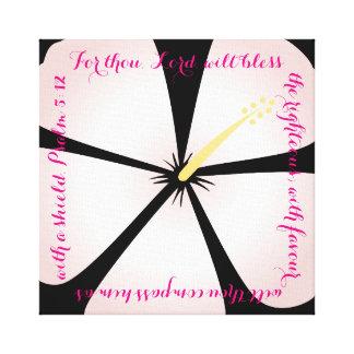 Pink / Black Hibiscus Canvas Bible Verse Canvas Print