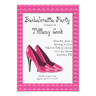 Pink & Black High Heel Bachelorette Party Invite