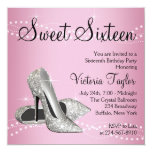 Pink Black High Heels Sweet 16 Party Personalized Announcement