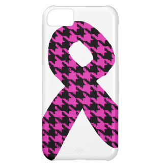 Pink/Black Houndstooth Awareness Ribbon Case For iPhone 5C