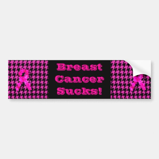 Pink/Black Houndstooth With Flower Ribbon Bumper Stickers