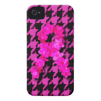 Pink/Black Houndstooth With Flower Ribbon iPhone 4 Cases