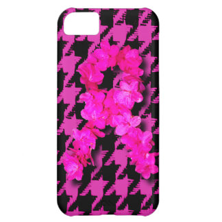 Pink/Black Houndstooth With Flower Ribbon Cover For iPhone 5C