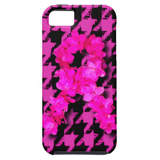 Pink/Black Houndstooth With Flower Ribbon iPhone 5 Case