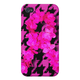 Pink/Black Houndstooth With Flower Ribbon iPhone 4 Cover