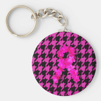 Pink/Black Houndstooth With Flower Ribbon Keychain