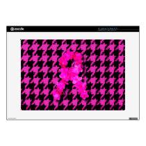 Pink/Black Houndstooth With Flower Ribbon Laptop Skins