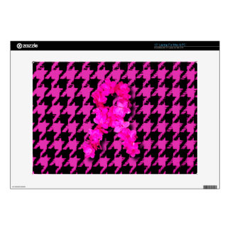 Pink/Black Houndstooth With Flower Ribbon Laptop Skins