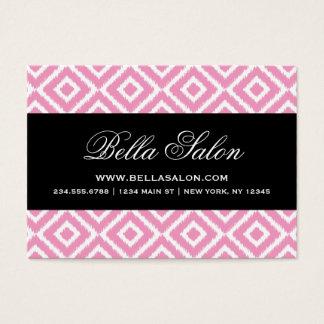 Pink & Black Ikat Diamonds Business Card