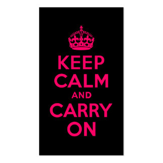 Pink Black Keep Calm and Carry On Business Card