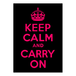 Pink Black Keep Calm and Carry On Large Business Card