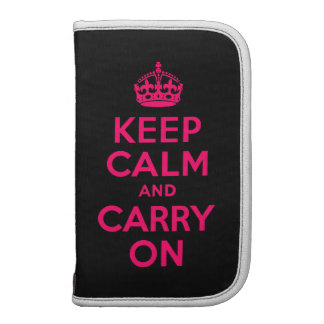Pink Black Keep Calm and Carry On Planner