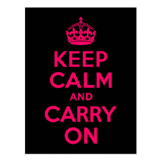 Pink Black Keep Calm and Carry On Postcard