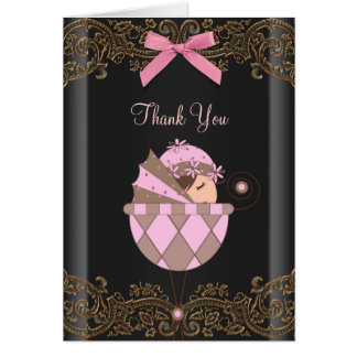 Pink Black Lace Baby Shower Thank You Cards