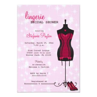 Pink & Black Lace Corset Lingerie Bridal Shower Card