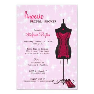 2a8c0b66b597 Pink   Black Lace Corset Lingerie Bridal Shower Invitation