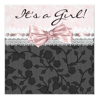 Pink Black Lace Pink Black Baby Girl Shower Card